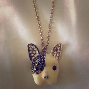 Betsy Johnson French bulldog Necklace